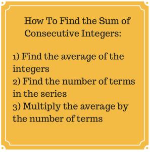 SAT ACT Sum of Consecutive Integers