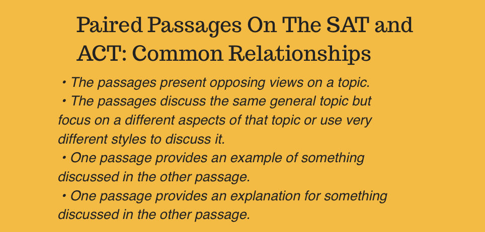 SAT Critical Reading ACT Reading Paired Passages